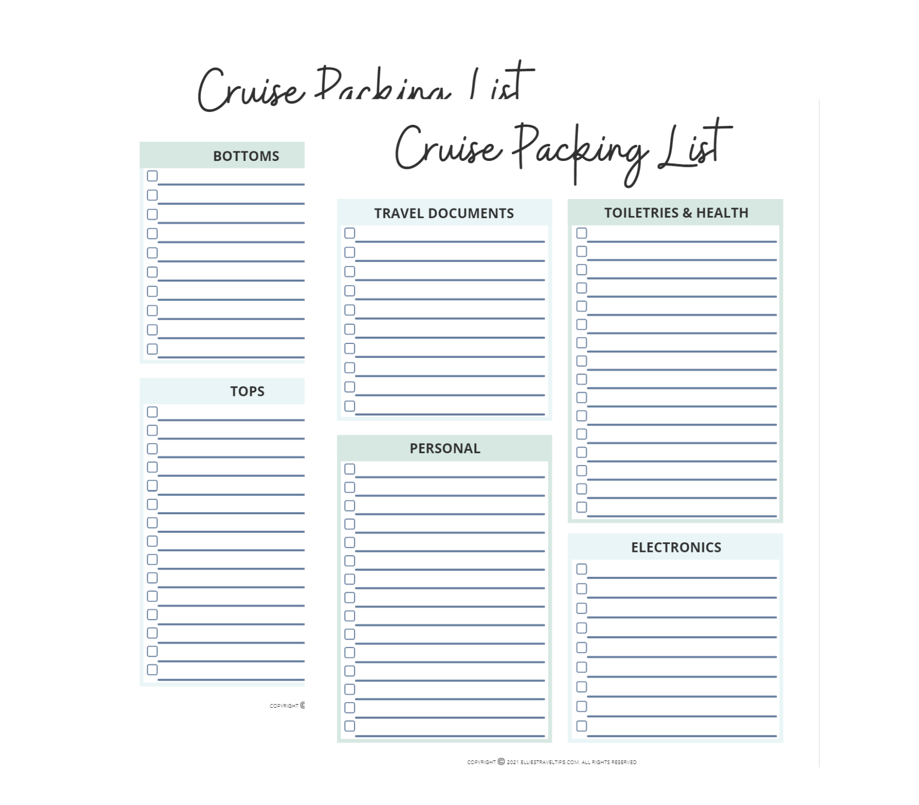 free cruise packing list