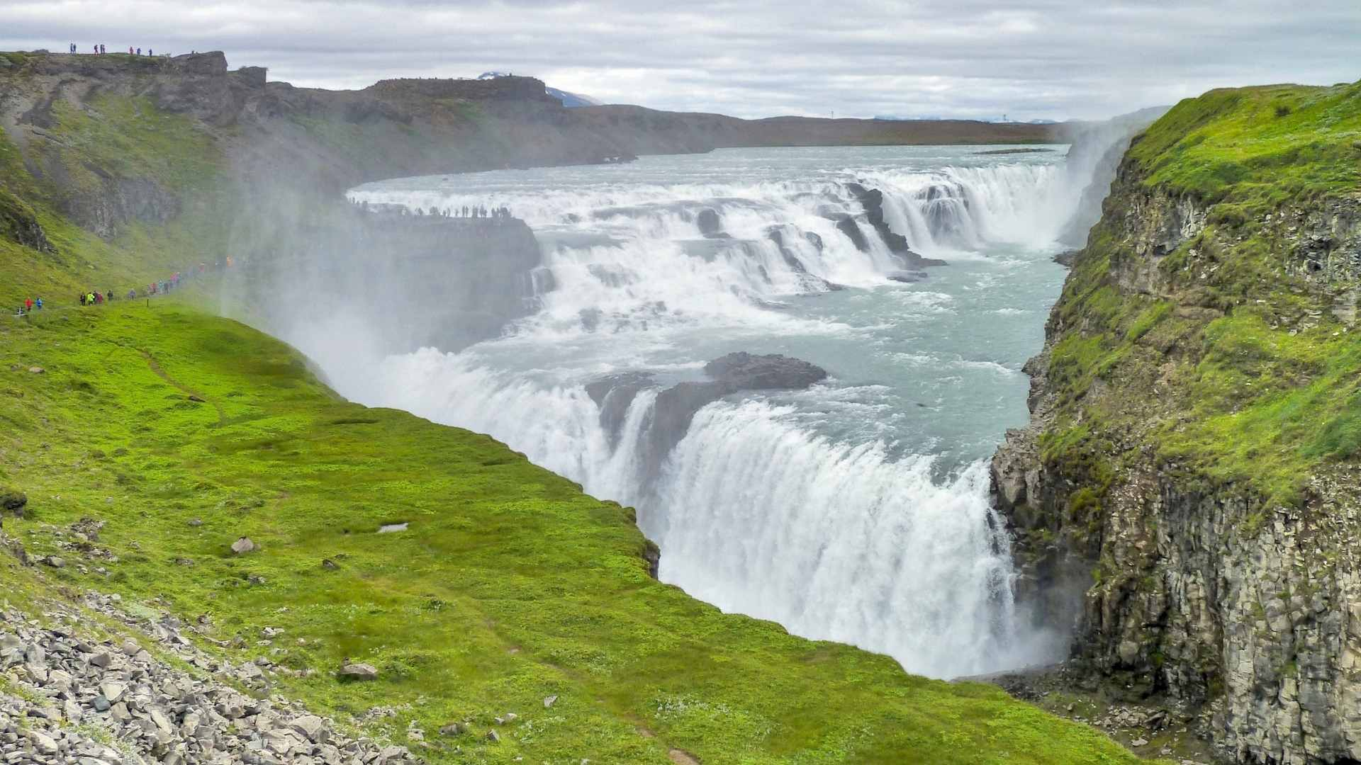 beautiful waterfalls Gullfoss, Iceland