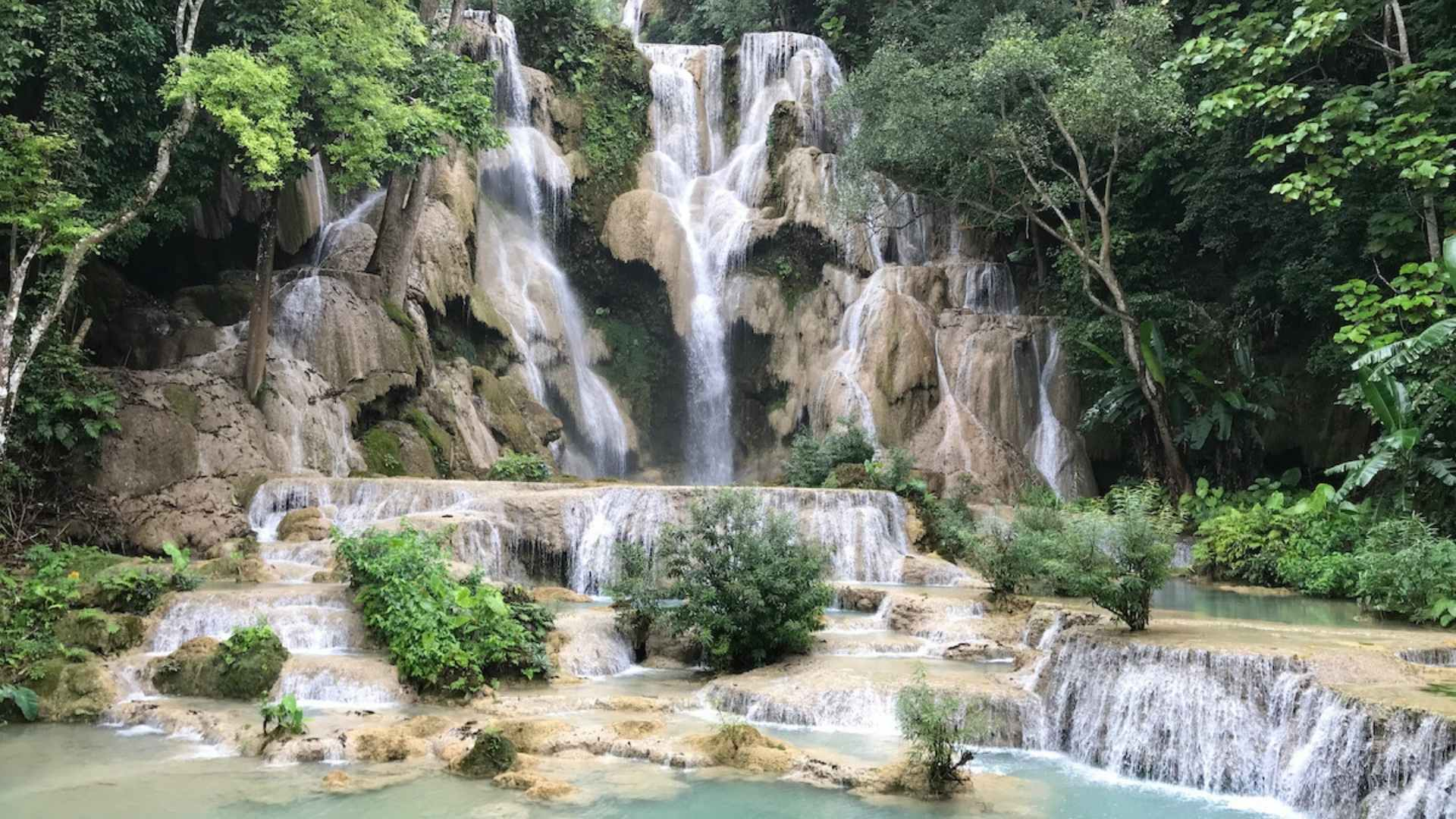 beautiful waterfalls Kuang Si Falls Laos